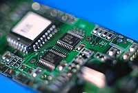 Electronics: The picture shows a printed circuit board as a synonym for the manifold application possibilities of surface analytical methods in the electronics and semiconductor industry.